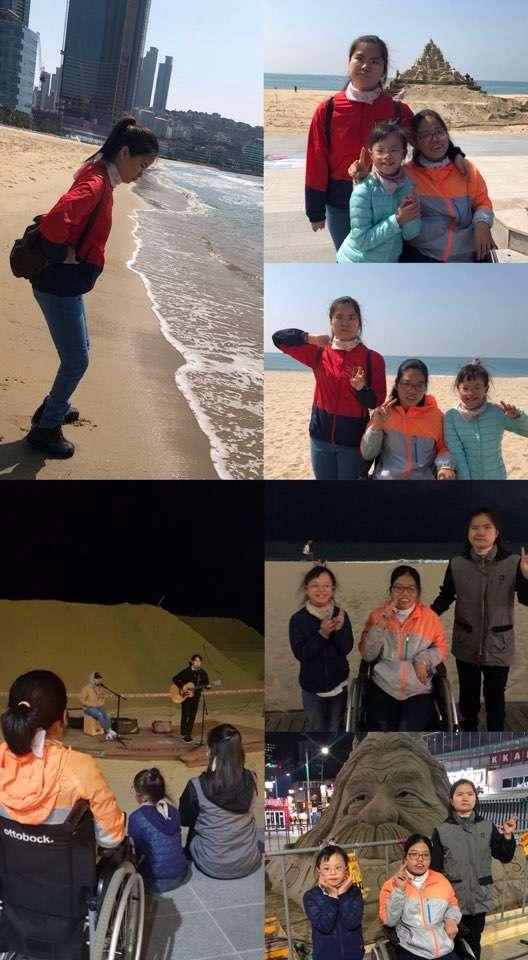 부산 해운대의 밤바다와 아침바다를 배경으로.. 그리고 곧 있음 한다는 모래축제를 위한 모래작품과 찰칵!! 덤으로 버스킹 공연까지 ♪♩♬